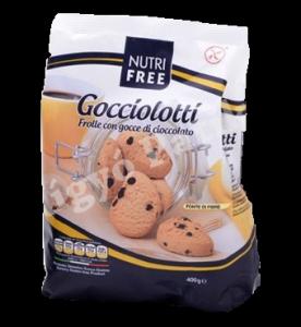 NutriFree gluténmentes Gocciolotti édes keksz csoki darabokkal, 400 g