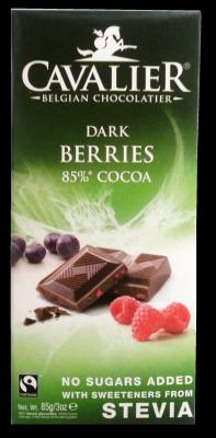 Belga táblás étcsokoládé szárított bogyós gyümölcsökkel, édesítőszerrel