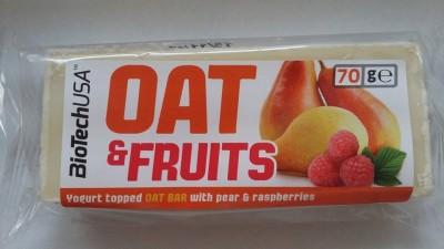Oat&Fruits Joghurt bevonóval mártott zabszelet körte és málna darabokkal